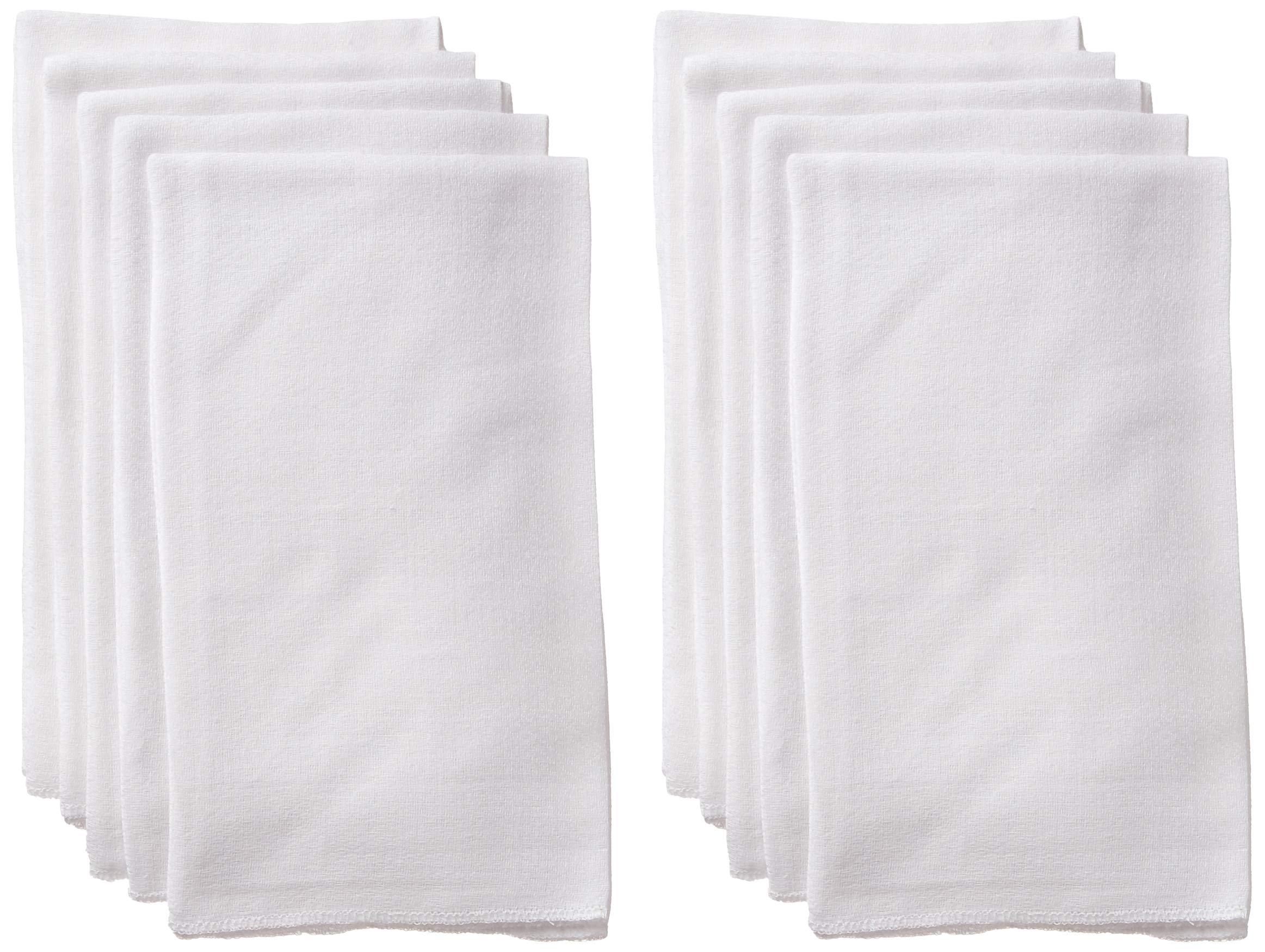 Luvable Friends Unisex Baby Flat Fold Birdseye Cloth Diapers, White, Flatfold 24X27