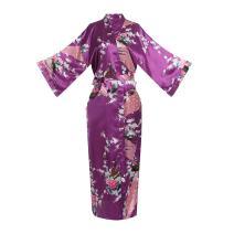 ELLENWELL Women Kimono Robe Loungewear Pajamas Satin Nightwear Bathrobe Long