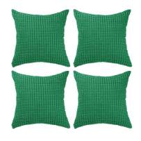 """Set of 4,Decorative Throw Pillow Covers 20"""" x 20"""" (No Insert),Solid Cozy Corduroy Corn Accent Square Pillow Case Sham,Soft Large Cushion Cover w/Hidden Zipper for Couch/Sofa/Bedroom,Emerald Green"""