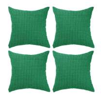 "Set of 4,Decorative Throw Pillow Covers 16"" x 16"" (No Insert),Solid Cozy Corduroy Corn Accent Square Pillow Case Shams,Soft Cushion Covers with Hidden Zipper for Couch/Sofa/Bedroom,Emerald Green"