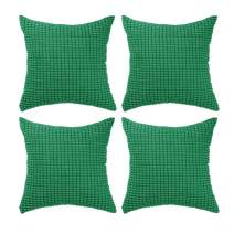 """Set of 4,Decorative Throw Pillow Covers 16"""" x 16"""" (No Insert),Solid Cozy Corduroy Corn Accent Square Pillow Case Shams,Soft Cushion Covers with Hidden Zipper for Couch/Sofa/Bedroom,Emerald Green"""