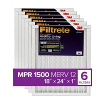 Filtrete MPR 1500 18x24x1 AC Furnace Air Filter, Healthy Living Ultra Allergen, 6-Pack