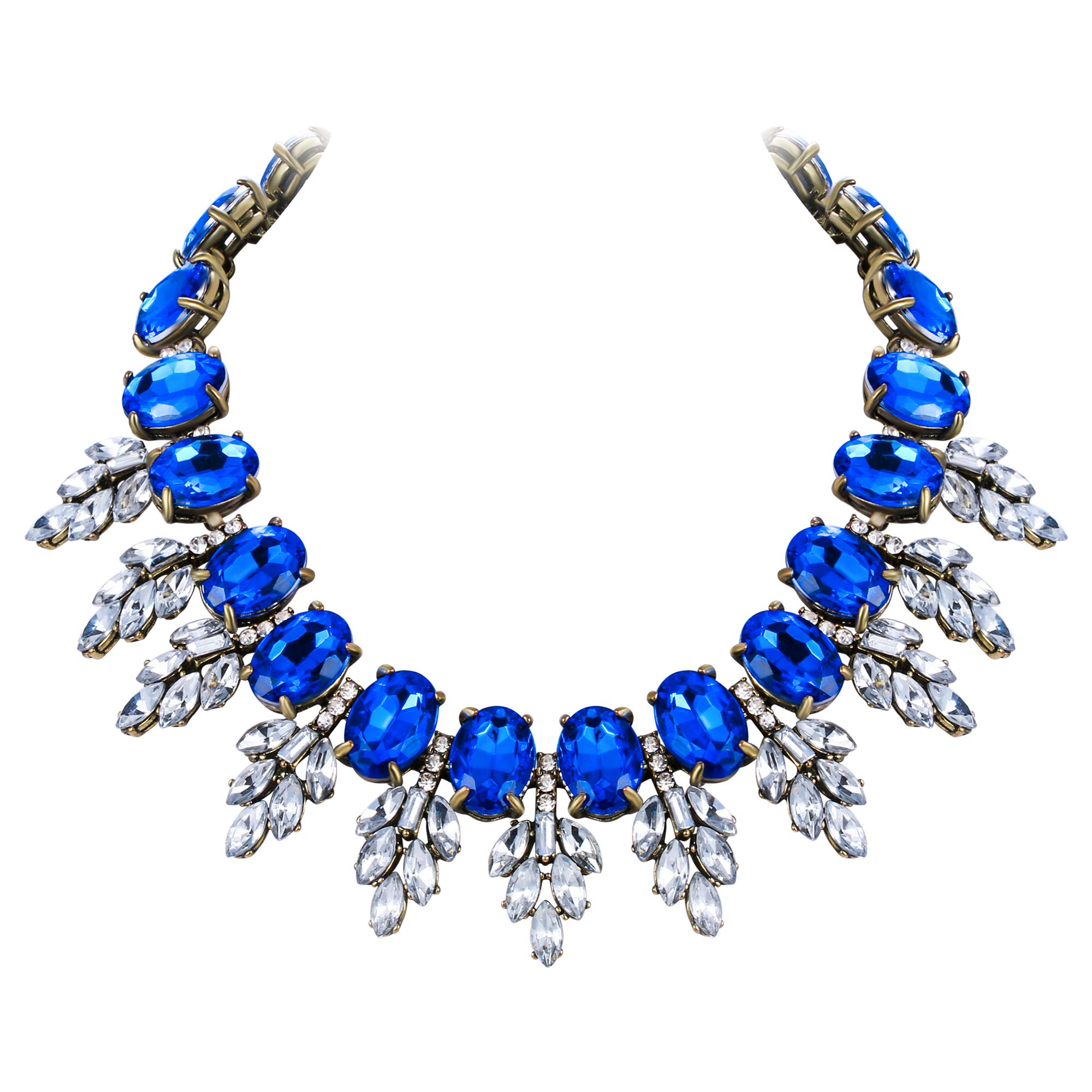 Flyonce Rhinestone Crystal Choker Statement Chunky Necklace for Women, Oval Drop Leaf Costume Jewelry