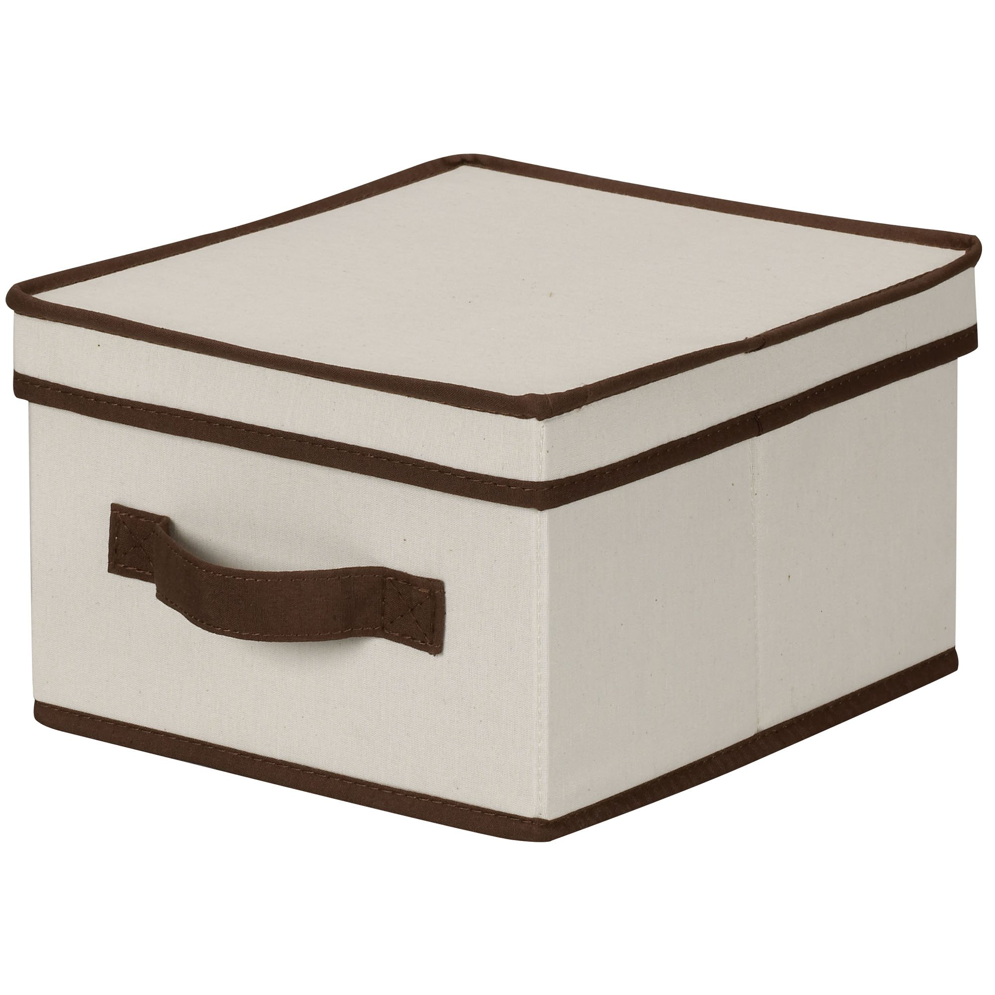 Household Essentials 511 Storage Box with Lid and Handle - Natural Beige Canvas with Brown Trim- Medium