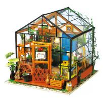 Hands Craft DG104, DIY 3D Wooden Miniature Dollhouse Build Your own Crafting Kit with Real LED Lights, Fun Educational STEM Hobby Project for Kids (14+) and Adults. (Cathy's Flower House)