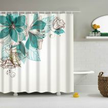 COLORPAPA Flower Decorative Shower Curtain Freehand Sketching Lily with Green Shadow on White Elegant Clean Waterproof Polyester Fabric Bath Curtain with 12pcs Hooks