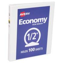 Avery Economy View Binder with 1/2 Inch Round Ring, White (5750)
