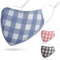 chiconn 3Pcs Cotton Double Layer Plaid Patterned Face Cover Washable Filter Lining Shield,Blue Red Grey Non-Medical Warm face mask