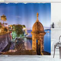 "Lunarable Puerto Rico Shower Curtain, Coast at Paseo de la Princesa Retro Style Architectural Elements Photography, Cloth Fabric Bathroom Decor Set with Hooks, 84"" Long Extra, Multicolor"