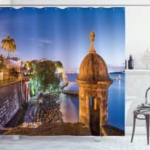"Lunarable Puerto Rico Shower Curtain, Coast at Paseo de la Princesa Retro Style Architectural Elements Photography, Cloth Fabric Bathroom Decor Set with Hooks, 70"" Long, Multicolor"