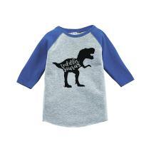 7 ate 9 Apparel Kid's Toddler Dinosaur Blue Raglan Tee