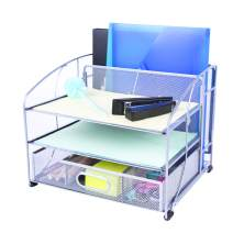 Exerz Mesh Desk Organizer Office Supplies 3 Trays/Desktop File Holder with Sliding Drawer and Hanging File Holder/Vertical Upright Section for Office Home Multifuntional - Silver