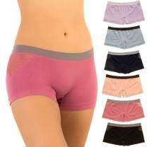 Alyce Intimates Women's Seamless Boyshort Sport Panty, Pack of 6