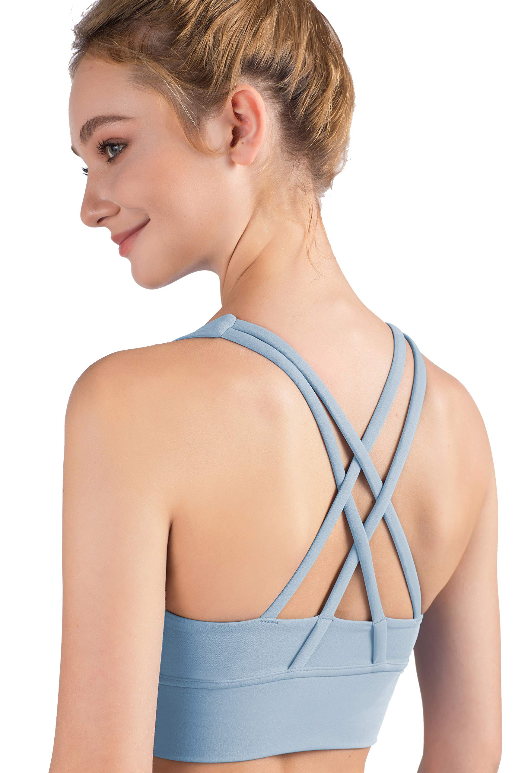 Ardunzz Pad Workout Sports Bras for Women Strappy Wirefree Yoga Gym Running Fitness Home Tops