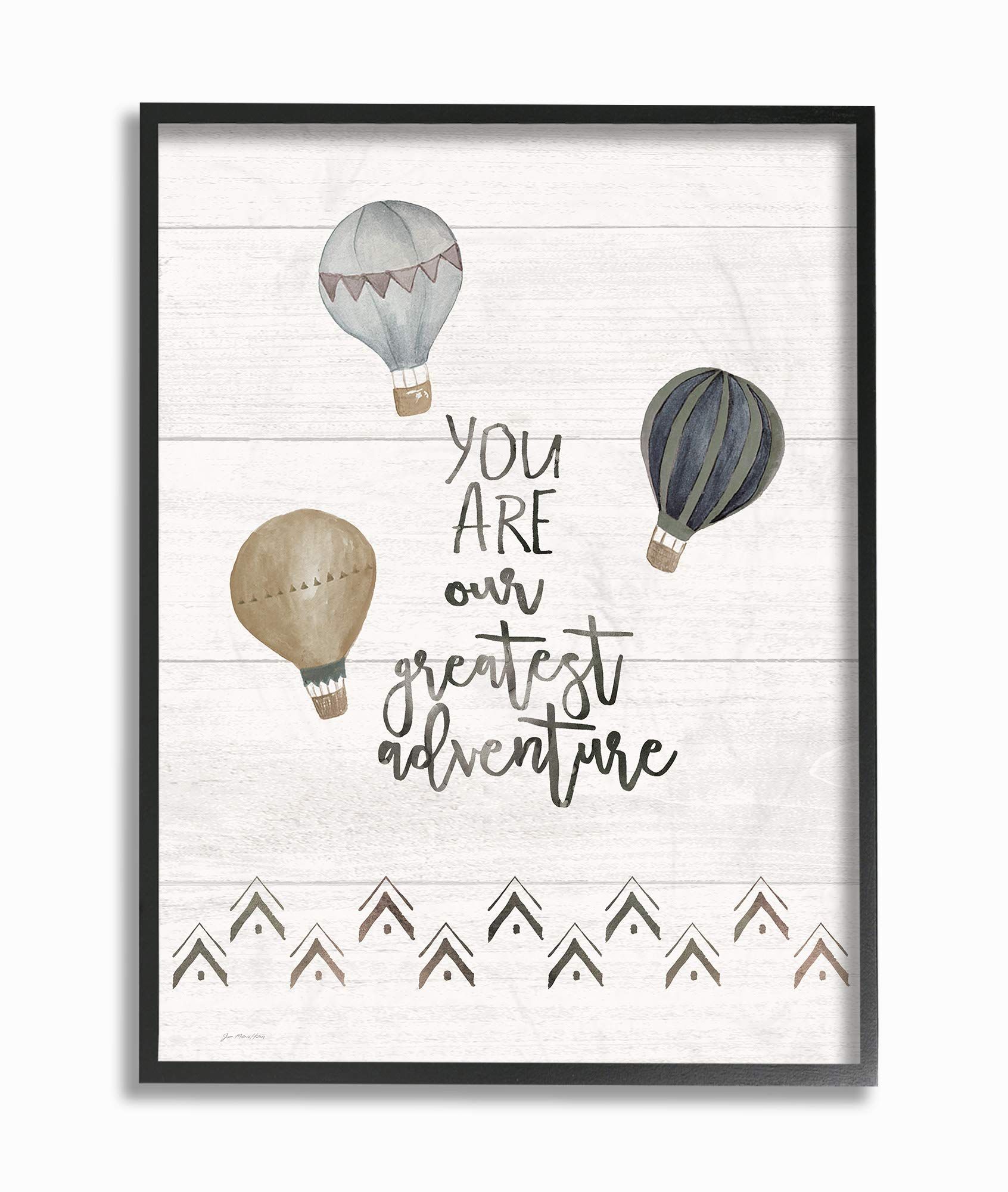 The Kids Room By Stupell Our Greatest Adventure Neutral Grey Hot Air Balloons Framed Texturized Art, 11 x 14, Proudly Made in USA, Multi-Color