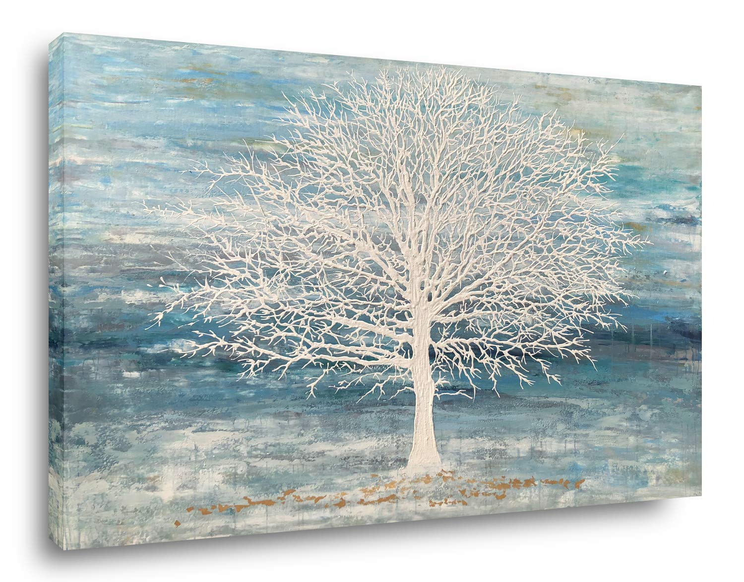 Yihui Arts Canvas Art Wall Decor, White Birch Trees Landscape Picture Painting, Modern Nature Teal Artwork Prints, Large Size Framed for Christmas Home Decor (Blue, 36Wx48L)