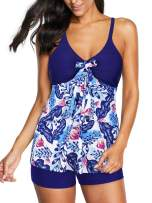Zando Women's Tankini Swimsuits Plus Size Bathing Suits for Women Two Piece Swimsuits Floral Tankini Top with Boyshort
