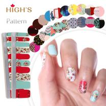 HIGH'S EXTRE ADHESION 20pcs Nail Art Transfer Decals Sticker Pattern Series The Cocktail Collection Manicure DIY Nail Polish Strips Wraps for Wedding,Party,Shopping,Travelling (Summer)