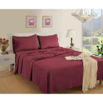 1800 Thread Count Bed Sheet Set Twin - Burgundy Sheet Set - Double Brushed Microfiber Sheets - Breathable Sheets Twin -Wrinkle Resistant Sheets (Twin, Burgundy)