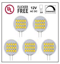 CBconcept UL Listed, SidePin G4 LED Light Bulb, 5 Pack, 1.8 Watt, Dimmable,220 Lumen, Warm White 3000K, 180 Degree Beam Angle, 12 Volt, 20W Equivalent, G4 Bi Pin Base Halogen Replacement Bulb