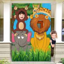 Jungle Safari Wild One Animals Birthday Party Decoration, Large Fabric Jungle Animals Backdrop Photo Door Banner, Funny Jungle Animals Face in Hole Game for Jungle Wild One Birthday Party Supplies