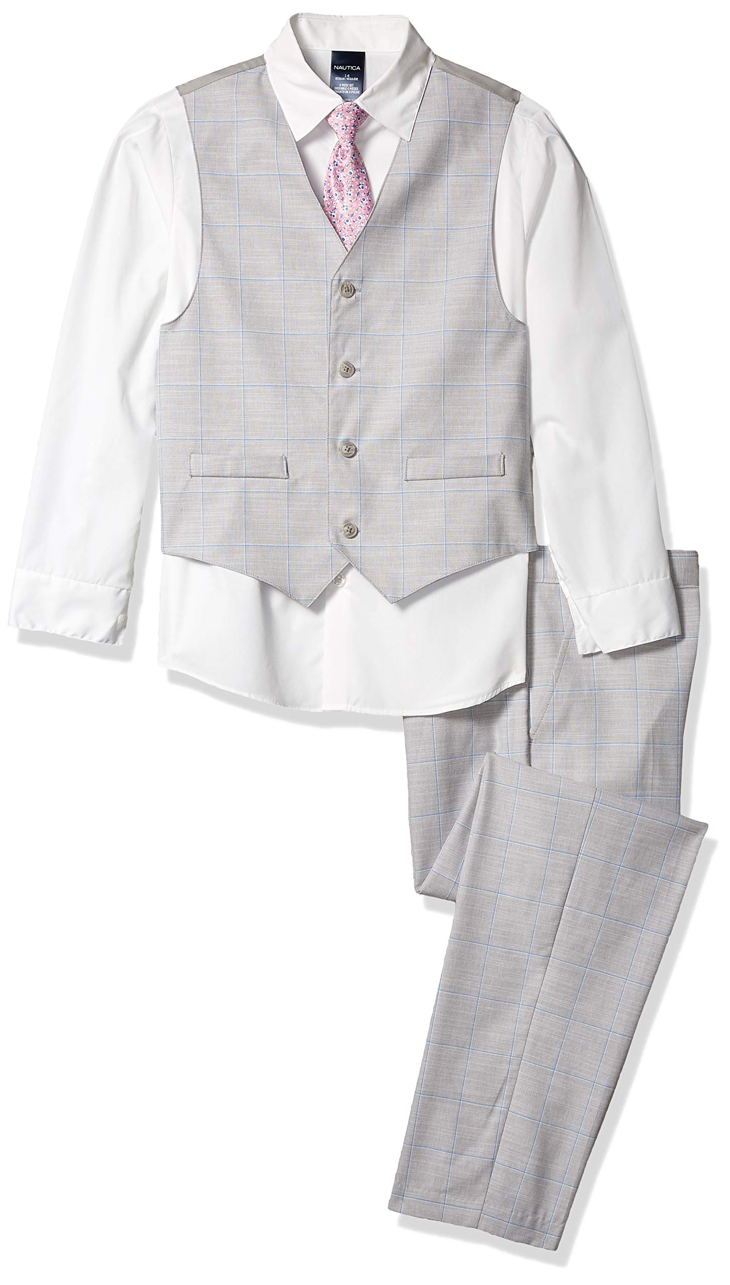 Nautica Boys' 4-Piece Vest Set with Dress Shirt, Tie, Vest, and Pants