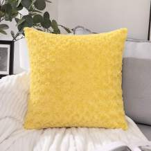 MIULEE Decorative Throw Pillow Covers Luxury Faux Fuzzy Fur Super Soft Cushion Pillow Case Decor Yellow Cases for Couch Sofa Bedroom Car 24 x 24 Inch 60 x 60 cm