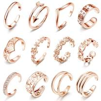 LOLIAS 12Pcs Open Toe Rings for Women Arrow Adjustable Toe Band Ring Gifts Beach Foot Jewelry Set