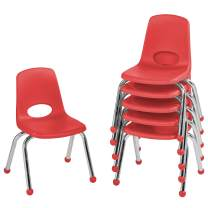 """FDP 12"""" School Stack Chair,Stacking Student Seat with Chromed Steel Legs and Ball Glides; for in-Home Learning or Classroom - Red (6-Pack)"""