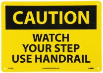 "NMC C643RB OSHA Sign, Legend ""CAUTION - WATCH YOUR STEP USE HANDRAIL"", 14"" Length x 10"" Height, Rigid Plastic, Black on Yellow"