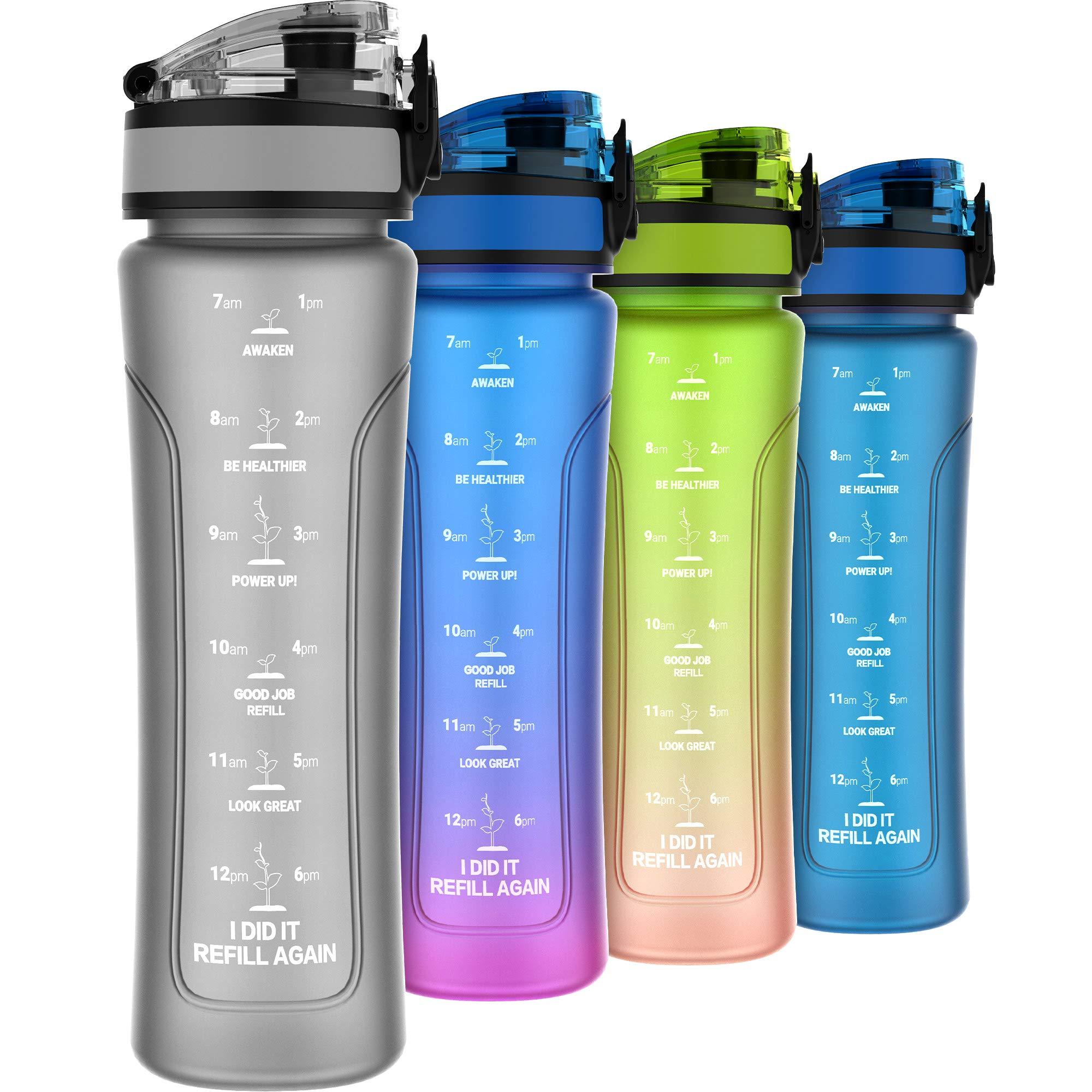 Kids Water Bottles with Times to Drink, 15oz Leak-proof Water Bottle for Kids/Women, BPA Free Tritan Plastic, One-hand Opening Technology (Grey)