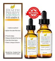 100% Natural & Organic Vitamin E Oil For Your Face & Skin, Unscented - 15,000/30,000 IU - Reduces Wrinkles & Fade Dark Spots. Essential Drops Lighter Than Ointment. Raw Vit E Extract Sunflower