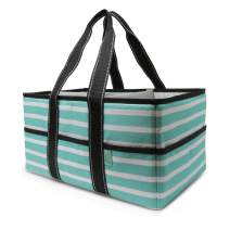 Early Hugs Diaper Caddy Organizer, Nursery Storage, Baby Gift Basket, Teal, Mint or Turquoise Stripes