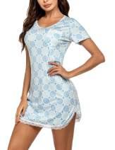Ekouaer Women's Nightgown Soft Short Sleeve Night Shirt Lace Trim Sexy Print Sleep Dress (S-XXL)