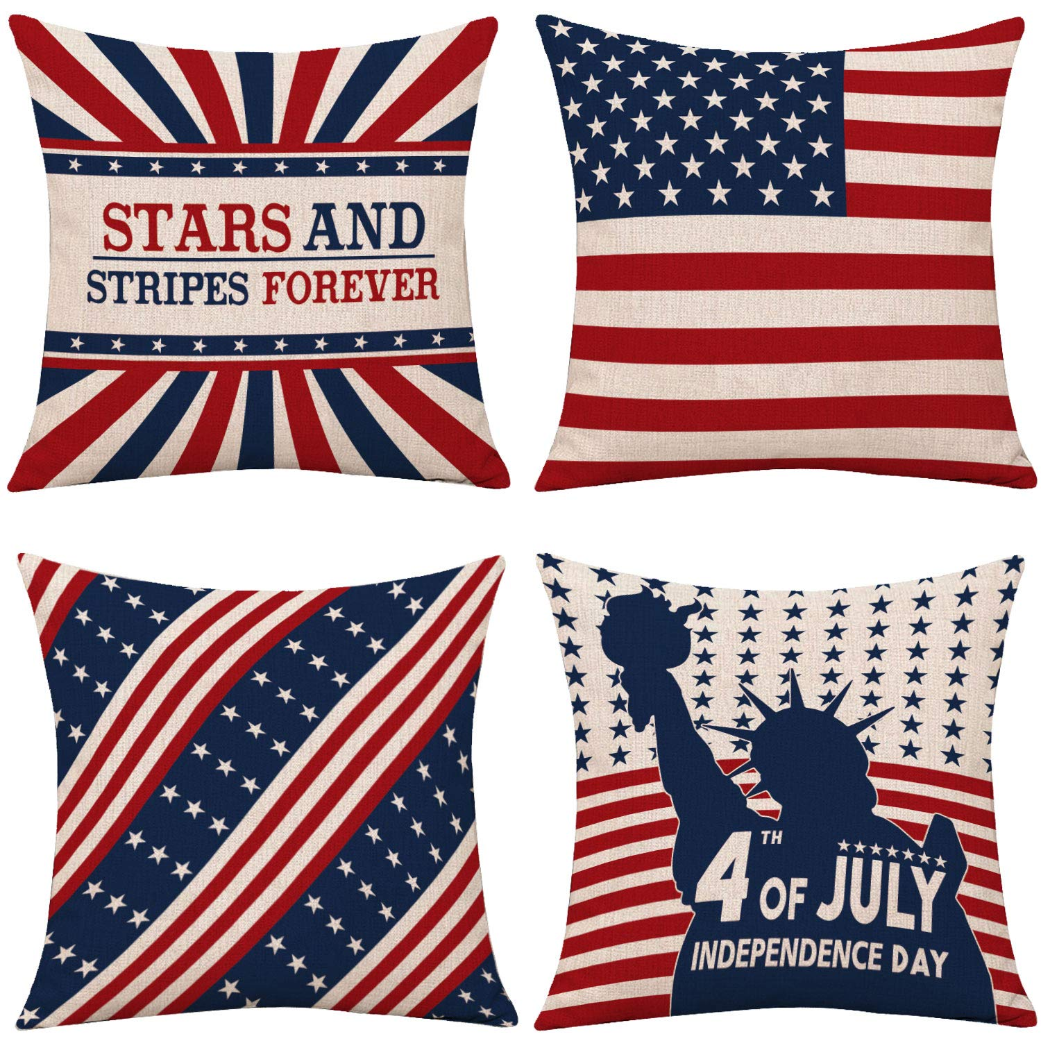"Whaline 4th of July Pillow Cover, Patriotic Throw Cushion Cover, American Flag Pillow Case, Independence Day Cushion Case for Sofa, Couch, Bedroom Home Decoration, 4 Pieces (16"" x 16"")"