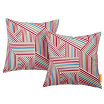 Modway Outdoor Indoor Two All Weather Patio Throw Pillows in Tapestry