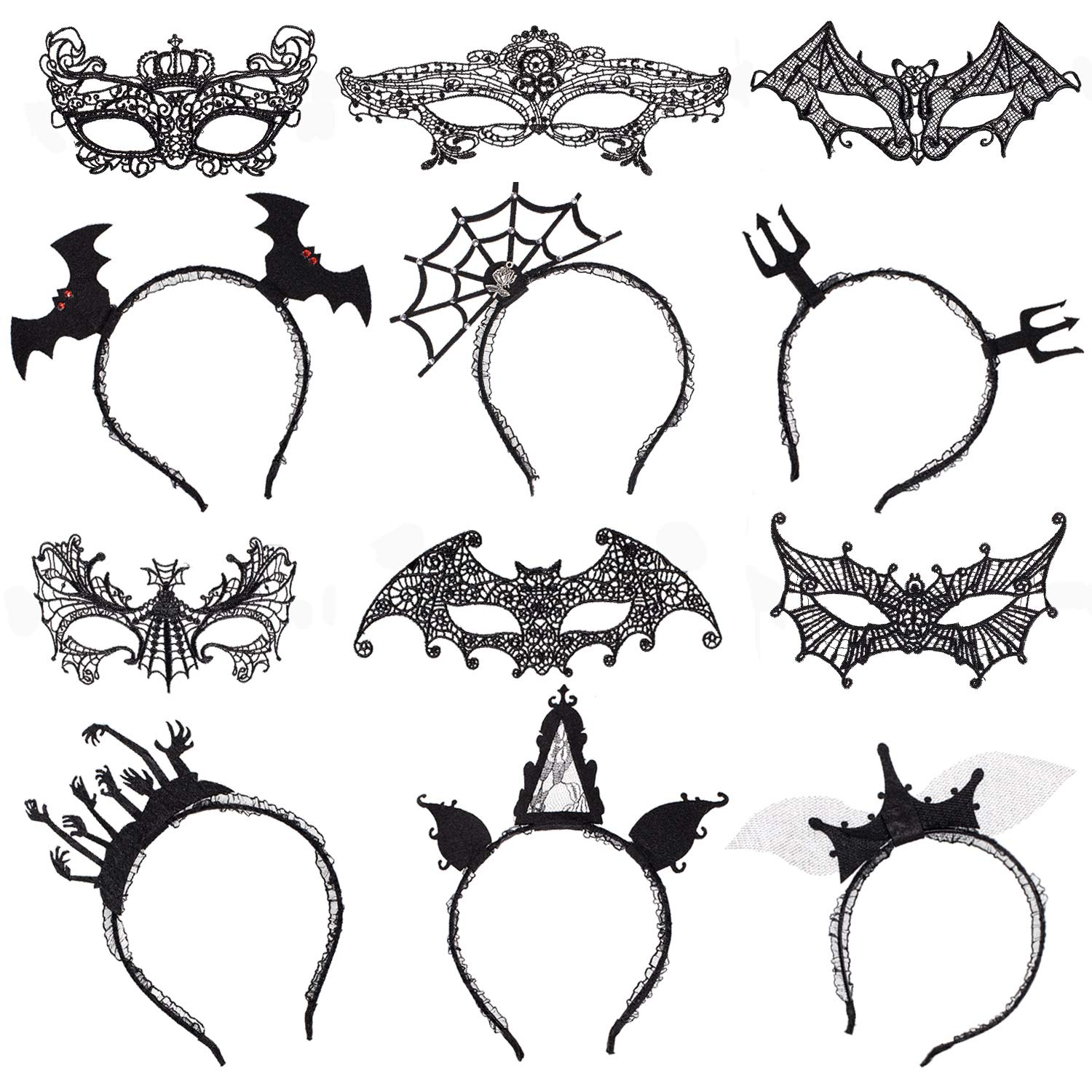 Whaline 12 Pcs Halloween Headbands and Eye Masks, Black Hair Hoops and Lace Masquerade Masks for Halloween Party Supplies Spider Web Devil Bat Wings Ghost Hands Dress up Hair Accessories