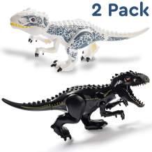 Set of 2 Large T-Rex Jurassic Dinosaur Toys Building Blocks for Boys and Girls - 11.2x6.7 Black & White - Includes Dino Toys Sticker Sheet & Reusable Bag - Safe ABS Plastic Jurassic Trex Gift Combo!