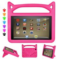 Fire 7 Tablet Case 2019,Ubearkk Kids Shock Proof Protective Cover Case for Amazon Fire 7 Tablet (Compatible with 5th 2015/7th 2017/9th Generation 2019 Release) (Pink)