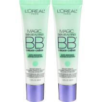 L'Oréal Paris Makeup Magic Skin Beautifier BB Cream Tinted Moisturizer Face Makeup, Anti-Redness, Green, 2 Pack