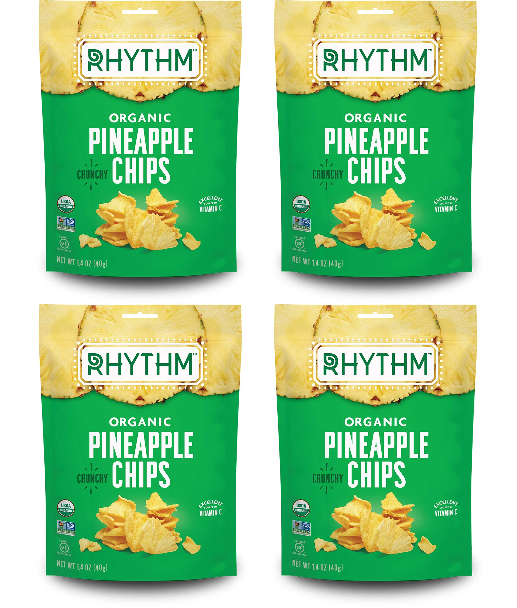 Rhythm Superfoods Crunchy Pineapple Bites, Organic & Non-GMO, 1.4 Oz (Pack Of 4), Vegan/Gluten-Free Dehydrated Sweet Fruit Snacks