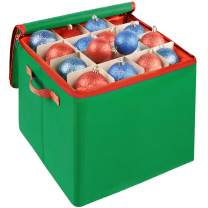 Lulu Home Christmas Ornament Storage Container, 600D Oxford Fabric Christmas Balls Storage Boxes, 4 Layers Ornament Storage Boxes Stores Up to 64 Ornaments with Zippered Closure and Two Handles, Green