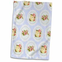 "3D Rose Shabby Chic Flower Pattern-Pink and White Roses in Lace-Graphic Circles On Girly Vintage Baby Blue Towel, 15"" x 22"", Multicolor"