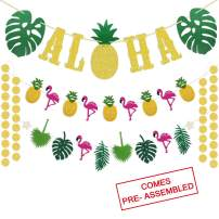 Hawaiian Aloha Party Decorations - Large Gold Glittery Aloha Banner and Flamingle Pineapple Garland For Luau Party Supplies - Tropical Theme Summer Beach Pool Party Decorations - Luau Birthday Bachelorette Wedding Party Decor