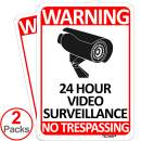 TICONN 2-Pack 24 Hour Video Surveillance Sign, No Trespassing Aluminum Warning Sign, 10x7 Inches Indoor/Outdoor Use for Home Business CCTV Security Camera, Reflective, UV Protected & Waterproof