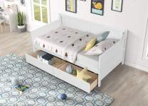 Twin Daybed Frame with 2 Storage Drawers on Casters, Wood Twin Size Captains Sofa Bed Frames with 3 Drawer Stoppers for Kids Girls Boys, 10 Slats for Strong Support, 250 lbs Weight Capacity (White)