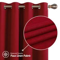 Deconovo Full Blackout Curtains Thermal Insulated Sun Blocking Grommet Top Curtains for Kids Room Red 52W x 108L Inch 2 Panels