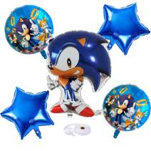 OPATER 5 Pcs Sonic The Hedgehog Balloons Birthday Party Supplies for Kids Baby Shower Birthday Party Decorations