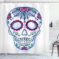"""Ambesonne Sugar Skull Shower Curtain, Day of The Dead Colorful Skull with Floral Ornament Hand Drawn Style Doodle, Cloth Fabric Bathroom Decor Set with Hooks, 84"""" Long Extra, Blue Lavender"""
