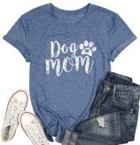 Dog Mom Tshirts for Women Funny Dog Paw Graphic Print Short Sleeve O Neck Mom Shirt
